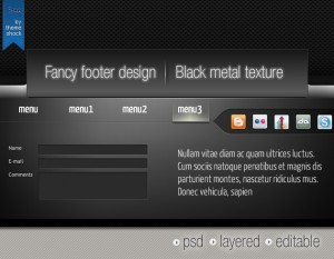 black footer psd
