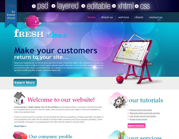 XHTML / CSS template for web designers